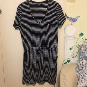 Chelsea & Theodore Navy white striped Shirt dress
